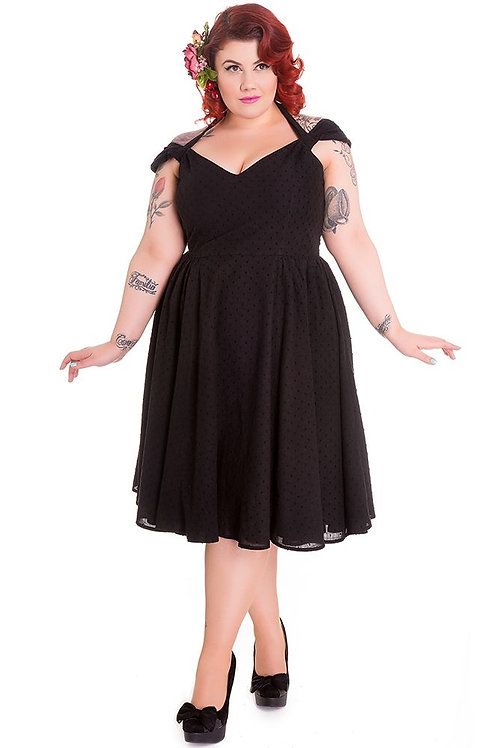 1950s Vintage Style Black Cotton Swing Dress
