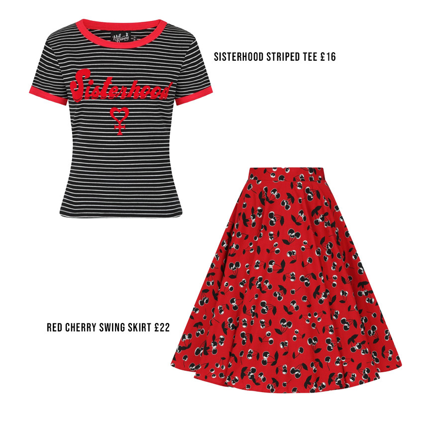 Vintage Style Fashion | Retro Outfit | Cherry Skirt | Sisterhood Tee