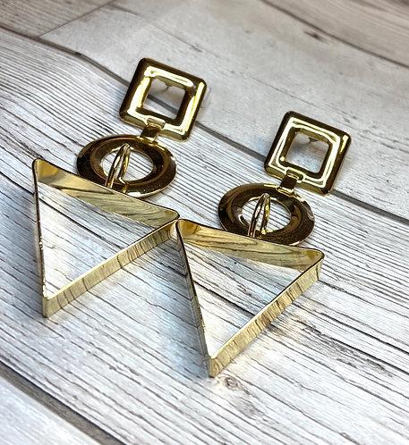 1980s Vintage Bold Geometric Gold Earrings