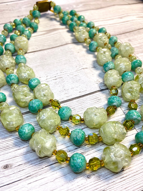 1960s Vintage 3 Strand Chunky Green Necklace