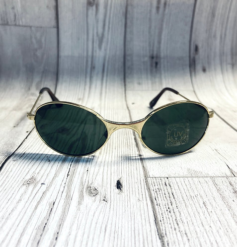 1990s Vintage Deadstock Gold Oval Sunglasses