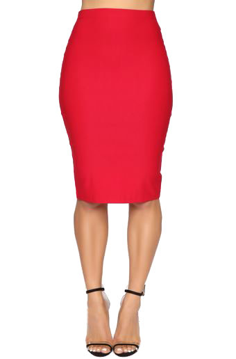 Red Stretch High Waist Pencil/Wiggle Skirt