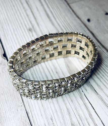 1980s Vintage Stretch Diamanté Cuff Bracelet