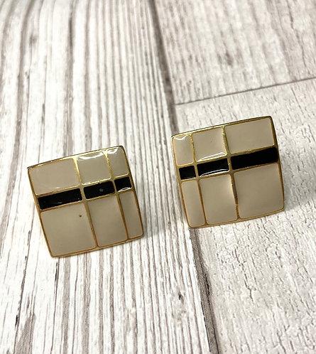 1970s Vintage Enamelled Square Clip On Earrings