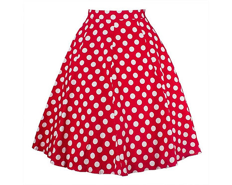 50s Style Red Polka Dot Swing Skirt
