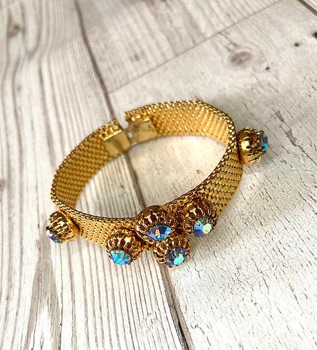 1960s Vintage Golden Jewelled Cluster Bracelet