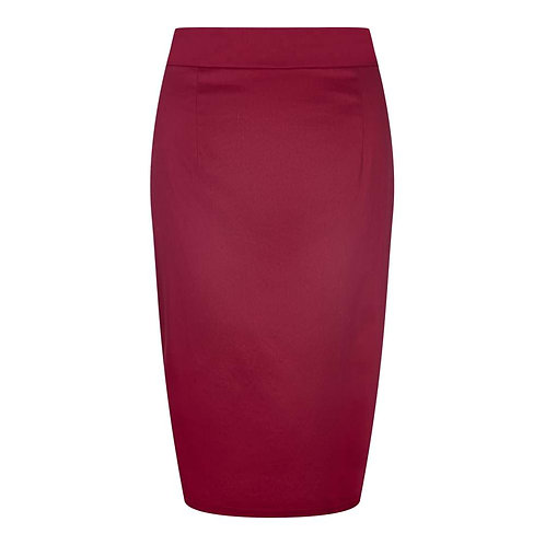Retro Inspired Deep Red Pencil Skirt