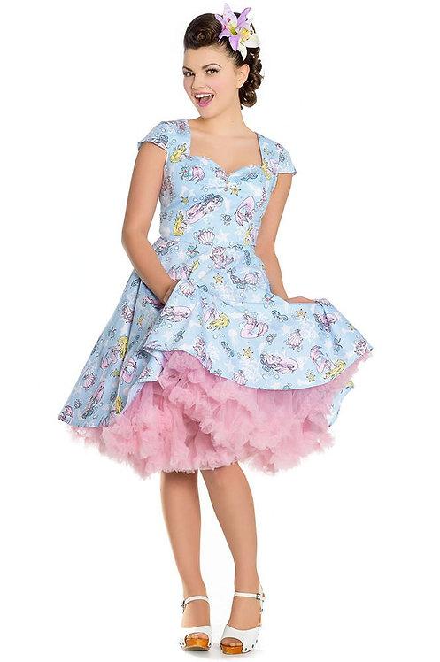 Retro Kitsch Pastel Blue Mermaid Swing Dress