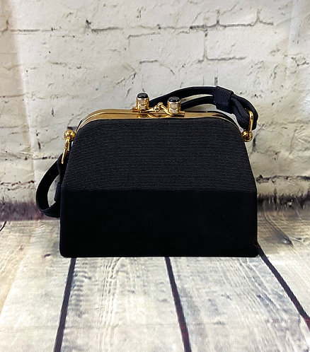 1950s Vintage Black Mini Box Evening Bag