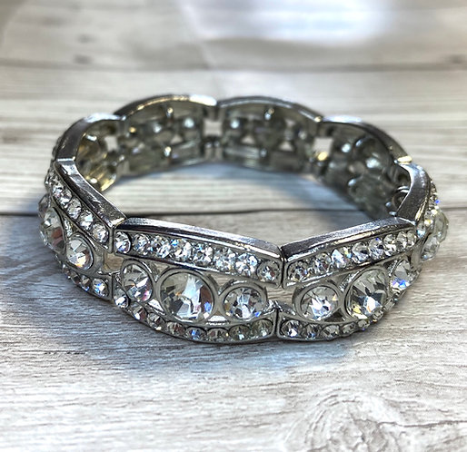 Vintage Stretch Chunky Diamanté Cuff Bracelet