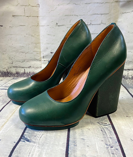 & Other Stories Retro Green Leather Chunky Heel Shoes UK7 (EUR40)