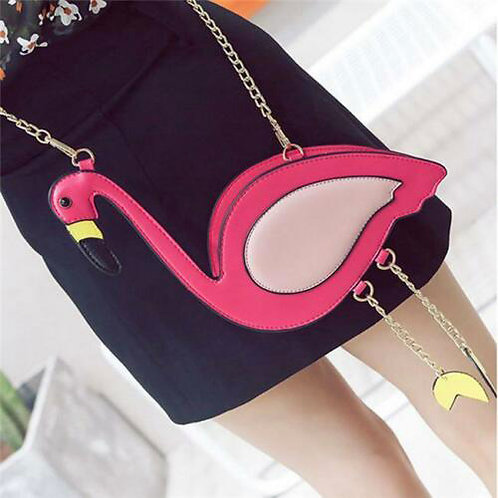 Retro Kitsch Pink Flamingo Chain Handle Bag