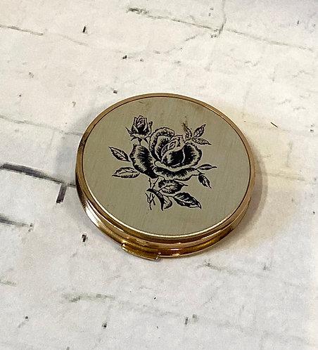 Vintage Gold & Black Rose Compact