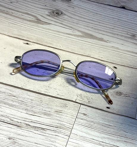 Vintage Lilac & Silver Oval Sunglasses