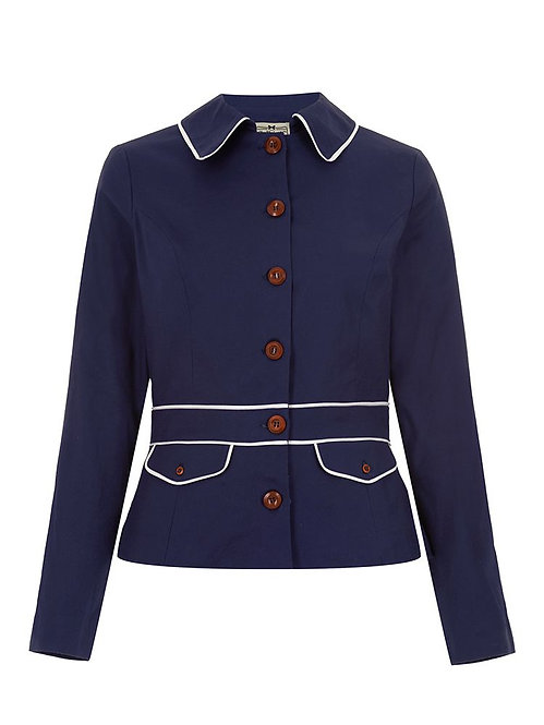 Vintage Style Navy Maritime Fitted Jacket