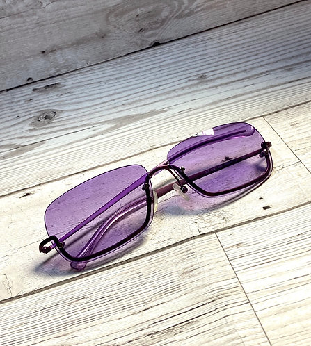 Vintage Sisley Purple Rimless Designer Sunglasses