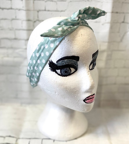 Retro Rockabilly Wired Headscarf - Mint Polka Dot