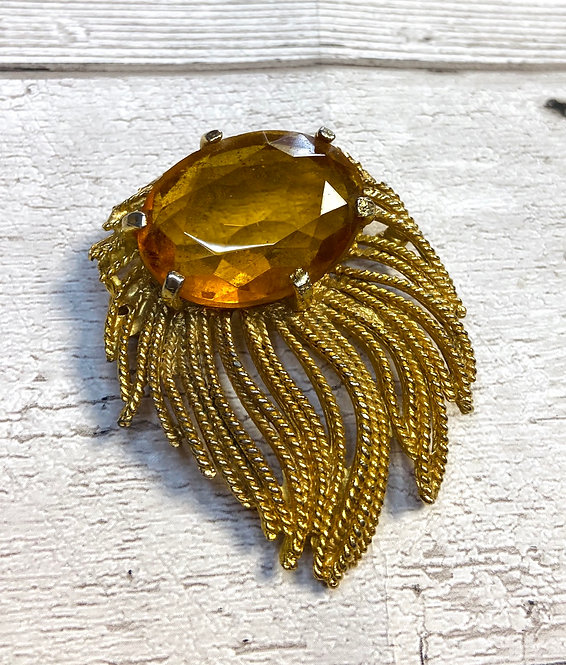 1950s Vintage Gold & Amber Stone Brooch