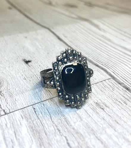1960s Vintage Marcasite Black Stone Ring