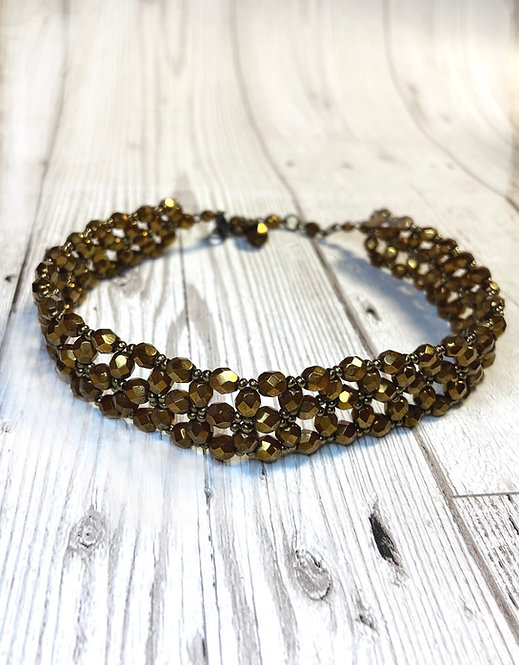 Vintage Bronze Beaded Choker Necklace