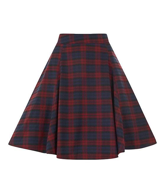 Vintage Style High Waisted Tartan Swing Skirt