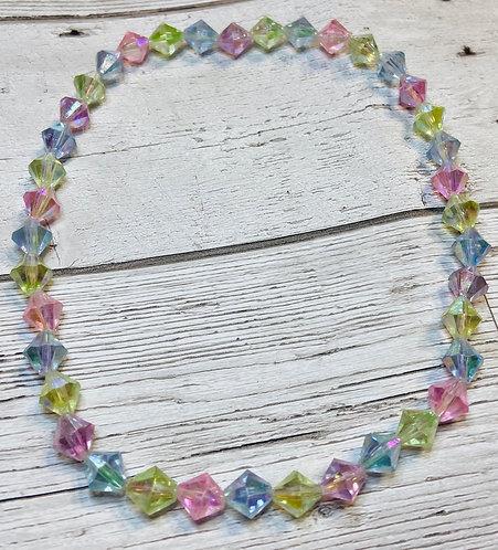 Vintage 1960s Pastel Bead Choker Necklace