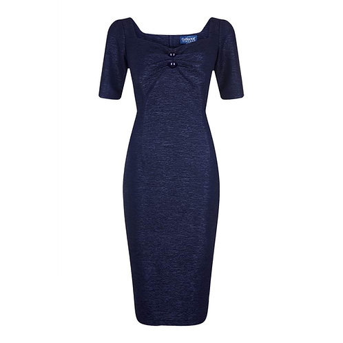 Vintage Inspired Navy Blue Pencil/Wiggle Dress