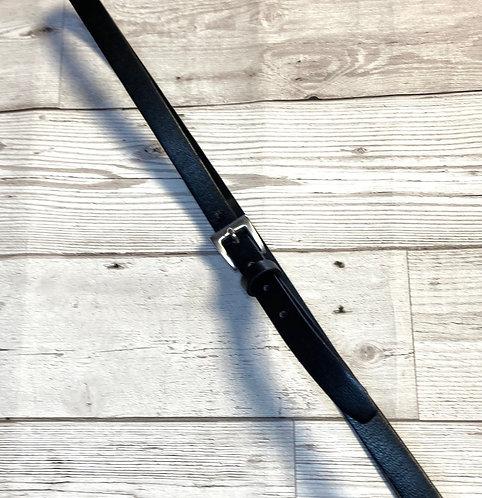 Vintage Black Faux Leather Skinny Belt UK 14/16