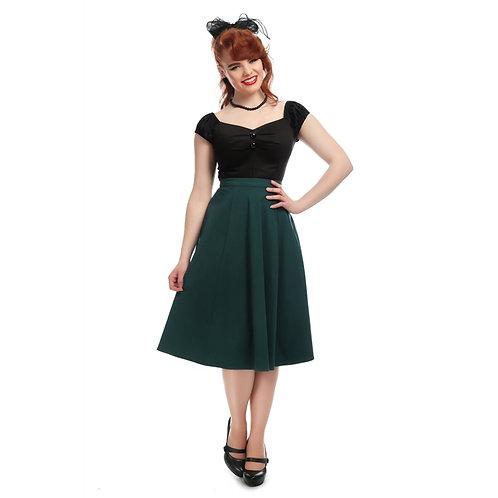 Vintage Style Teal Green Bengaline Swing Skirt