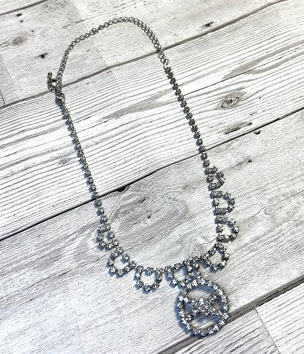 1950s Vintage Diamanté Circle Pendant Necklace