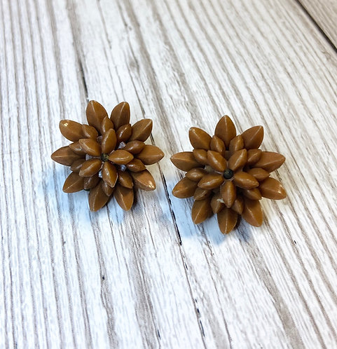 1950s Vintage Brown Floral Burst Earrings