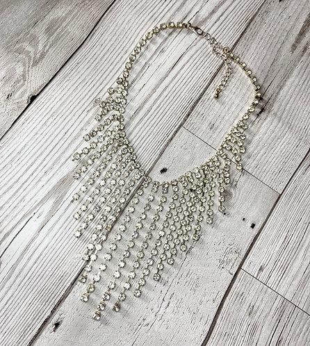 1980s Vintage Diamanté Drop Choker Necklace