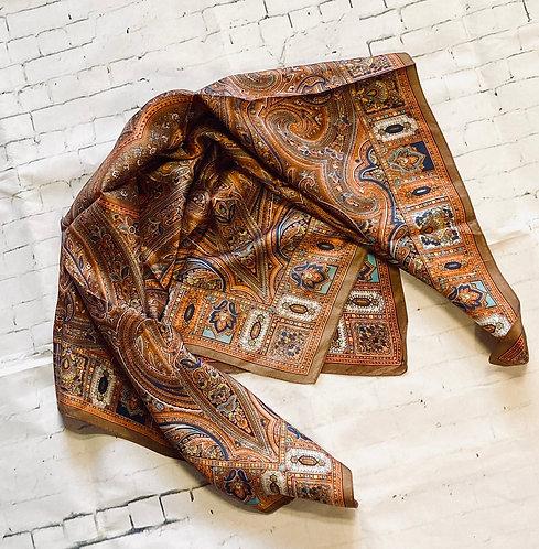 Vintage Orange & Brown Paisley Print Scarf