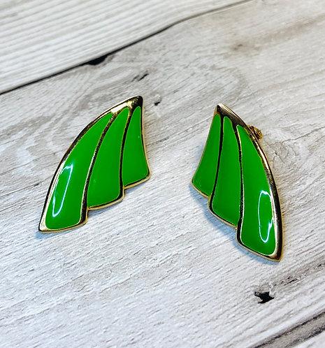 Vintage 1970s Green Enamelled Fan Earrings