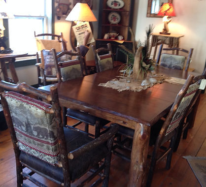 All wood dining sets rustic counry cabin decor.