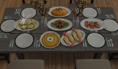 sims 4 table setting custom food