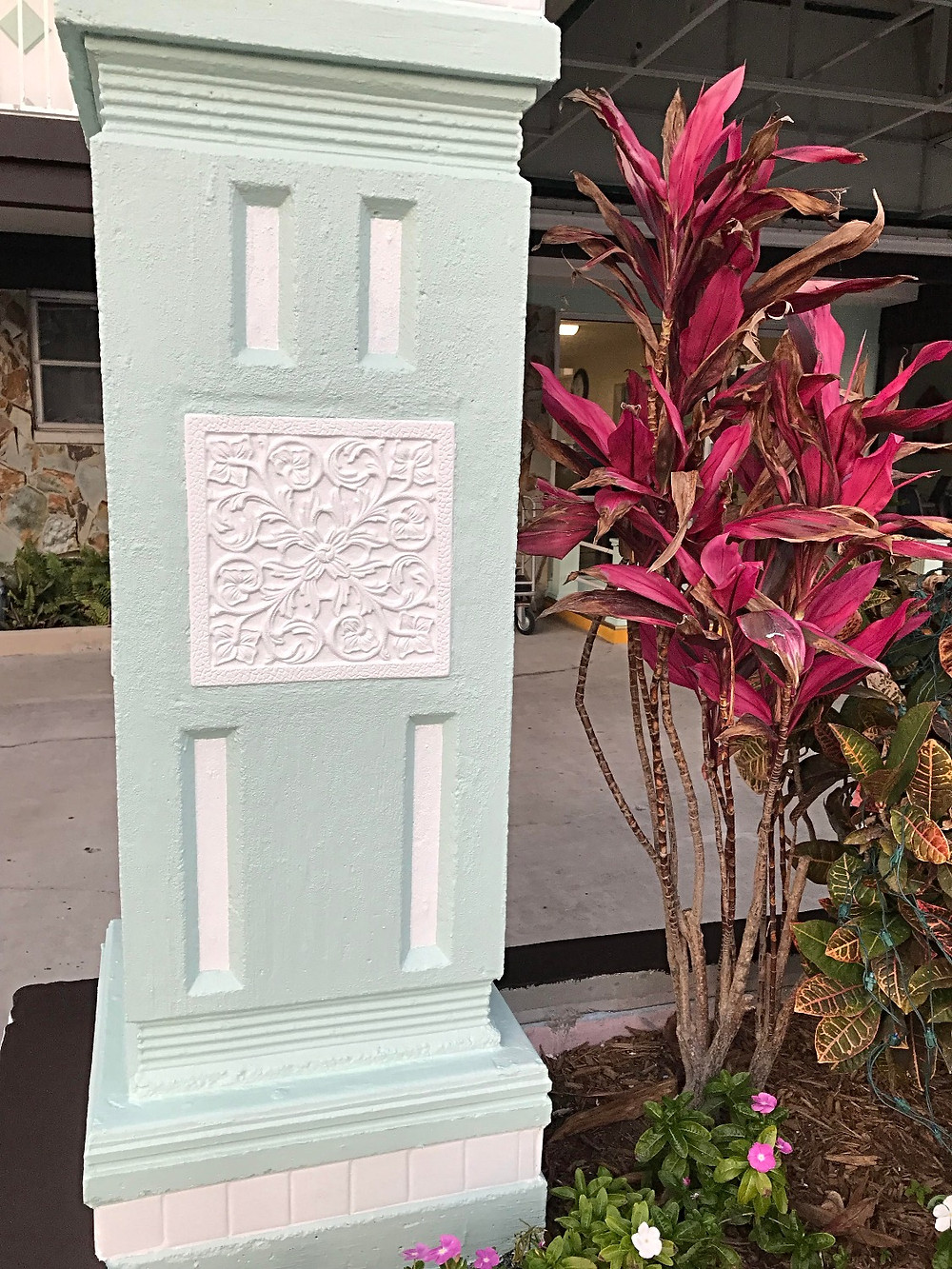 Test column painted blue/green and white