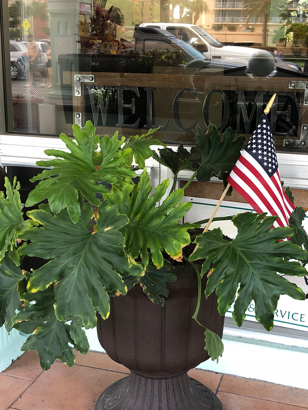Welcome sign in front window of lobby with planter and American flag