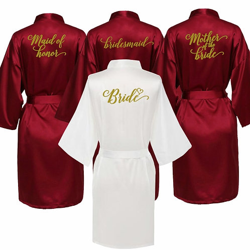 Sexy Burgundy Robe Bride