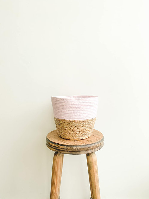Two Tone Seagrass Basket - Baby Pink