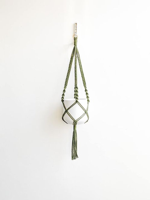 Macrame Plant Hanger - Olive Green