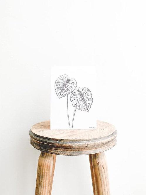 Monstera Deliciosa Leaf Art Print - A5