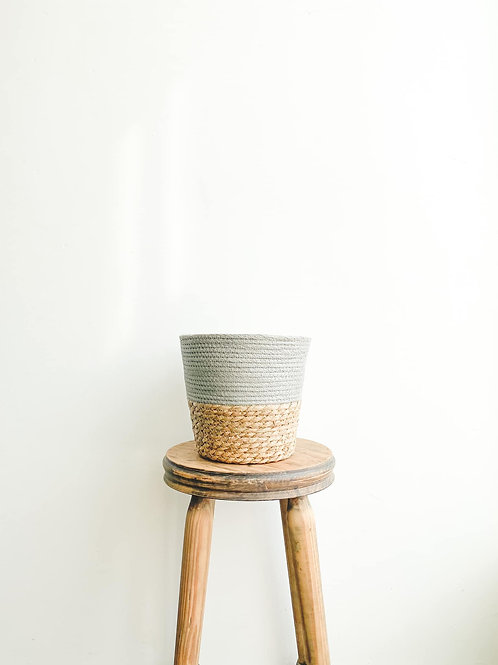 Two Tone Seagrass Basket - Grey
