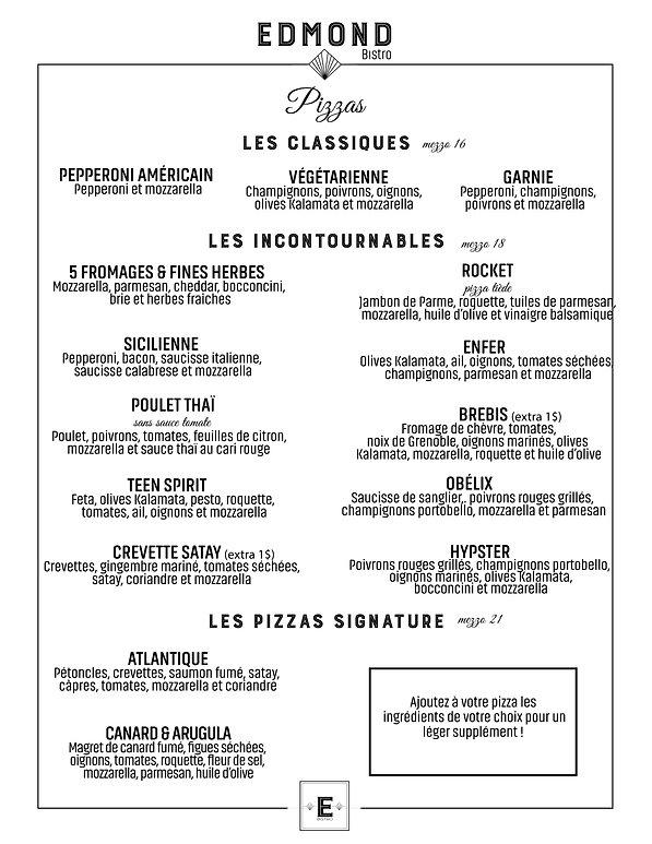 menu, nourriture, bistro, restaurant, laval, edmond, edmond bistro, entree, salade, moules, frites, promotion, grill, poisson, burger, poulet, experience, specialite, laval, pates, maison, pizza, home made