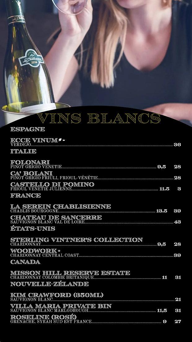 VIN BLANC menu, BAR, CARTE DES VINS,  edmond bistro, laval, epicerie fine, COCKTAIL CLASSIQUE, SPIRITUEUXCOCKAIL SIGNATURE menu, BAR, CARTE DES VINS,  edmond bistro, laval, epicerie fine, COCKTAIL SIGNATURE