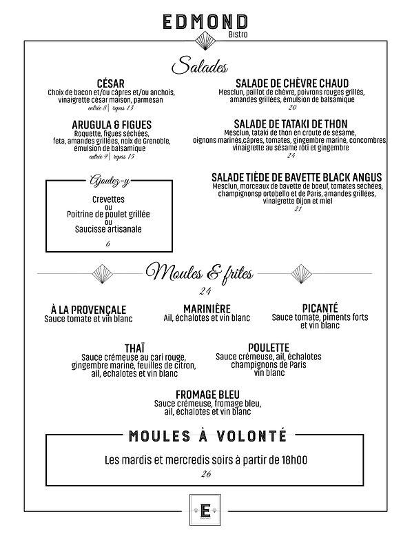 menu, nourriture, bistro, restaurant, laval, edmond, edmond bistro, entree, salade, moules, frites, promotion