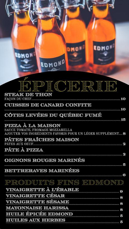 menu epicerie, pret a manger, edmond, laval, bistro, restaurant, EPICERIE