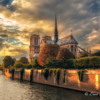 A Rear View of Notre Dame at Sunset