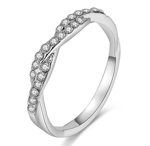 Twisted Crystal Band Ring