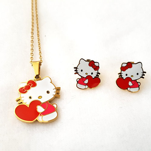 Hello Kitty Necklace & Earring Set